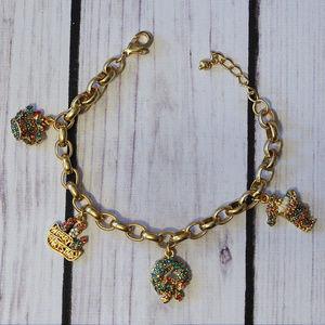 holiday Christmas santa claus gold charm bracelet